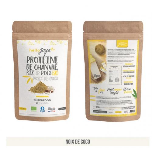 Protéines Chanvre Riz et Pois Bio (65% de protéines) - 400g